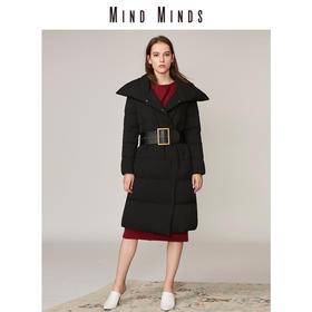 MINDMINDS 冬装新款女装外套收腰显瘦长款过膝羽绒服女
