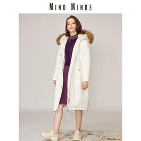 MINDMINDS 冬装韩版新款女装外套连帽大毛领长款过膝宽松羽绒服女