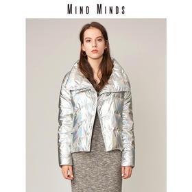 MINDMINDS 冬装新款短款女士时尚外套纯色长袖白鸭绒羽绒服女