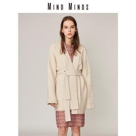MINDMINDS 针织开衫女士2018秋装新款简约睡衣式长款毛织开衫