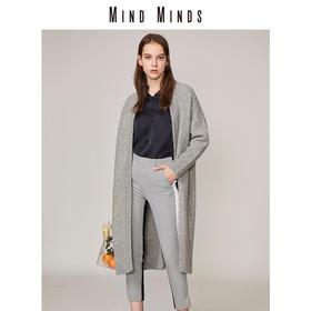 MINDMINDS 18秋冬新款简约羊毛中长款毛织开衫外套女