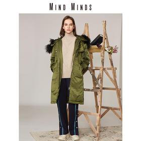 MINDMINDS 冬装新款女装外套连帽大毛领长款过膝羽绒服女
