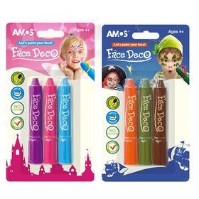 韩国AMOS 3色人体彩绘  口红式旋转 环保材料提取
