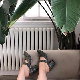 刀割皮复古深绿高跟鞋