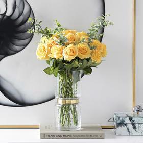 手感保湿仿真玫瑰花束装饰绢花干花花束客厅插花假花仿真花摆件