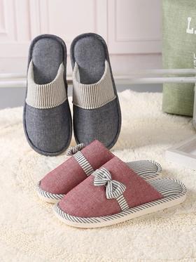 秋季薄棉居家鞋情侣款女男防滑地板拖鞋包头日式单拖鞋棉拖鞋