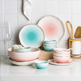 摩登主妇 曼丽 欧式金边手绘6人食陶瓷餐具家用碗碟套装西餐菜盘