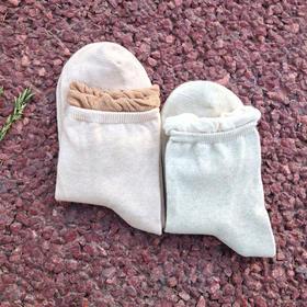 女士松口袜子:纯天然彩棉,手工缝头,花边工艺。