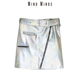 MINDMINDS 2018秋冬新款银色裙子修身显瘦半身裙小A裙包臀短裙女