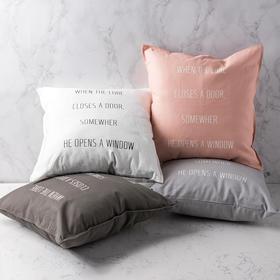 原创设计ins北欧棉麻抱枕套简约现代英文个性沙发卧室靠垫套