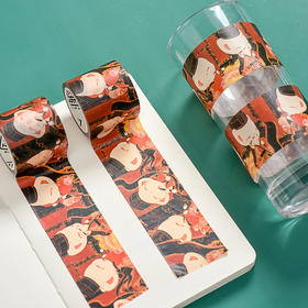 西子猫猫大红袍卷轴装饰胶带 手账素材贴纸  文具