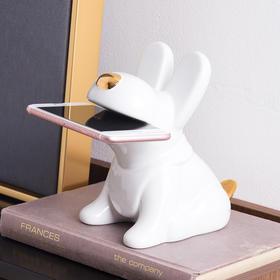 创意客厅家居饰品装饰品小摆件 陶瓷金旺财小狗手机架摆件