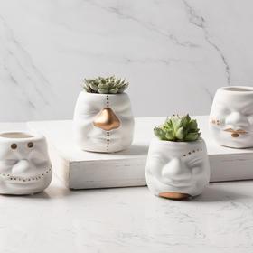 创意家居装饰摆件小丑多肉绿色盆栽陶瓷花盆小花瓶