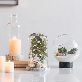 北欧丹麦设计天然大理石玻璃花瓶花器DIY玻璃罩轻奢摆件家居饰品