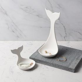 北欧白色陶瓷鲸鱼尾首饰托盘首饰架创意家居饰品摆件