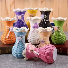 鲜花假花仿真花客厅摆设塑料花盆栽手编花篮绢花插花花桶花器花瓶