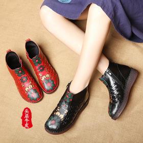 MLD6021秋冬民族风软底手工编织女短靴
