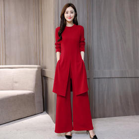 潮流韩版圆领长袖宽松阔腿裤优雅两件套 CS-JNFGN1838