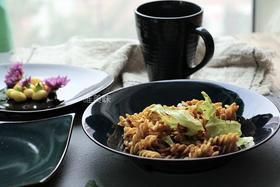 外贸 新骨瓷深蓝系 欧风多形沙拉盘凉菜盘主菜盘意面盘马克杯简餐套组