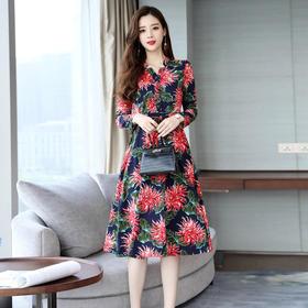 优雅印花气质韩版显廋潮流百搭优雅连衣裙 CS-JNFGN1839