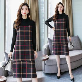 格子潮流时尚气质休闲拼接长袖连衣裙 CQ-YQM6052
