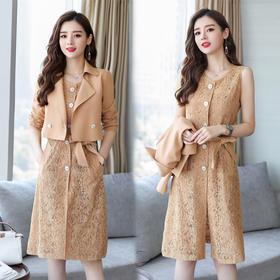 chic小清新套装裙新款秋红色连衣裙甜美时尚毛衣背心 CS-XPH19Q3