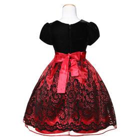 爱安玖 红黑丝绒款礼服裙