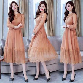 简约个性时尚圆领纯色长袖显瘦修身百搭潮流连衣裙 CS-HFG141