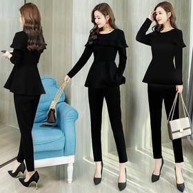 纯色优雅简约气质收腰修身显瘦长袖圆领套头小脚裤 CS-HMQY18806