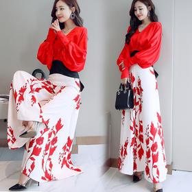 印花时尚百搭优雅韩版灯笼袖气质两件套 CQ-QNL7803