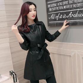 长袖纯色皮衣PU韩版百搭甜美修身显瘦外套上衣 CS-YYG82217
