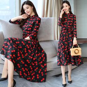 唯美韩版百搭潮流气质长袖中长款街头连衣裙 CQ-YMY1802