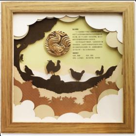 2017年鸡年富贵大吉小铜章(相框装裱)