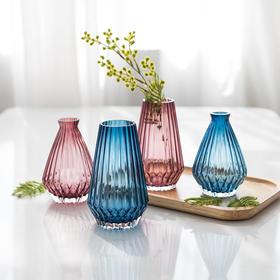 北欧简约折花纸透明玻璃水培花瓶餐桌绿植鲜花干花插花花器花插