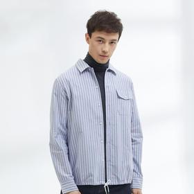 【都市轻商务系列】夹克式条纹牛津纺衬衣