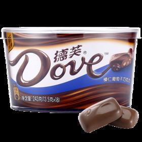 德芙Dove巧克力分享碗装 糖果巧克力休闲零食丝滑牛奶香浓黑等多种口味可选教师节情人节婚庆喜糖果礼盒 榛仁葡萄干*1碗243g-812175