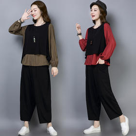 实拍秋季新款时尚休闲宽松棉麻上衣+9分阔腿裤+小背心 CQ-HYF2290