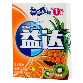 益达(Extra)无糖口香糖热带水果12片32g单盒装-812248