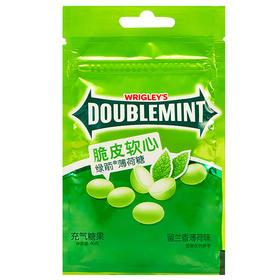 绿箭(DOUBLEMINT)脆皮软心薄荷糖留兰香薄荷味40g袋装-812216