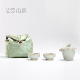 设计师款 | 花玲珑汝瓷旅行茶具(一壶二杯配收纳包)善窑出品(景德镇48小时顺丰发货)