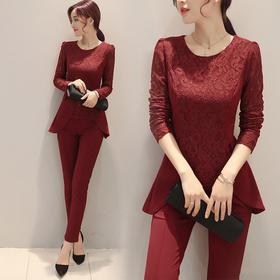 纯色气质时尚显瘦修身简约优雅百搭套装 CQ-QYYE1702