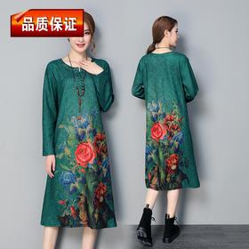 复古中长款大码印花文艺修身民族风时尚连衣裙 YX-134