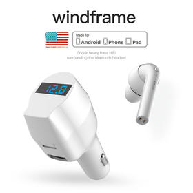 windframe车载蓝牙耳机长待机免提通话带屏幕运动快充便捷一拖二