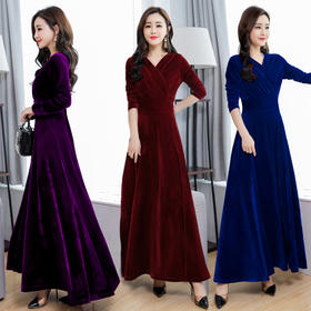 新款金丝绒大码连衣裙长袖大摆裙V领长裙 CQ-MLF6632