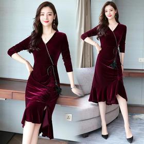 修身简约时尚舒适纯色连衣裙百搭一步裙X CQ-MYYS1868