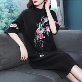 【清仓特价 不退不换】OG102C中国风绣花羊毛连衣裙TZF