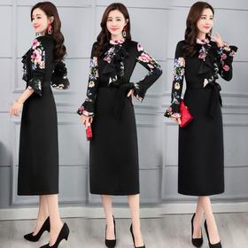 圆领通勤一步裙荷叶袖连衣裙中长款单件百搭时尚气质 CQ-OKYZ1803