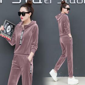 金丝绒运动服套装新款时尚休闲秋装韩版卫衣两件套 CQ-XKZ990