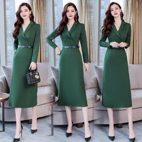 纯色季长袖中长款单排两粒扣中腰连衣裙气质优雅简约 CS-YQH321