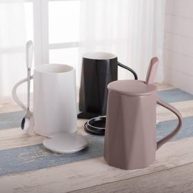 创意陶瓷杯子马克杯潮流咖啡杯带盖勺韩版家用喝水杯大容量420ML 颜色随机